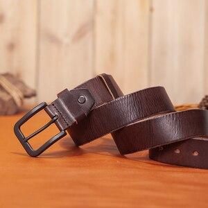 Image 4 - VAMOS KATOAL men belt cow genuine leather luxury strap male belts for men classic vintage pin buckle cowskin belt dropshipping