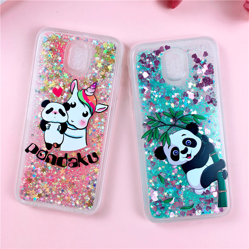 Liquid Case for Samsung Galaxy S9 Plus Case on for Samsung S9 S8 S6 S7 Edge J5 J3 J7 A5 2016 2017 Glitter Cute Panda Soft Cover image