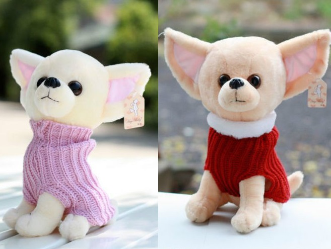 Candice guo plush toy stuffed doll little sweater cute chihuahua pet dog puppy creative children birthday gift Christmas present 30cm plush toy stuffed toy high quality goofy dog goofy toy lovey cute doll gift for children free shipping