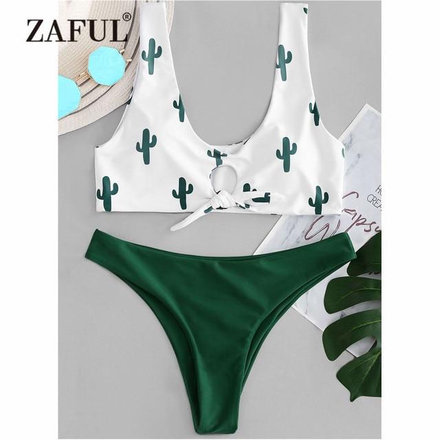 42fa46ebc4 ZAFUL Cactus Knot Bikini Set Swimwear Women Swimsuit Plunging Neck Low  Waist Contrast Thong Bikini Biquni Cactus Bathing Suit