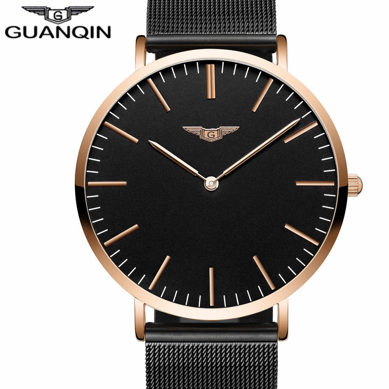 все цены на relogio masculino New GUANQIN Mens Watches Top Brand Luxury Ultra Thin Quartz Watch Men Simple Fashion Leather Strap Wristwatch онлайн
