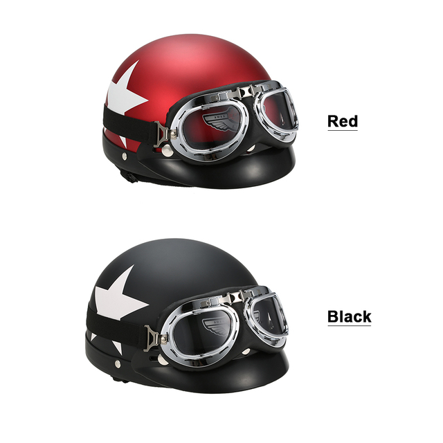 f774bd80 Half Helmet Open Face For Bike Casque with Goggles Visor For Scooter  Cycling Touring vintage Motorcycle