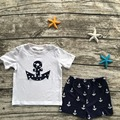 2016 new arrival baby boys summer outfits anchor  top summer outfits boys clothing