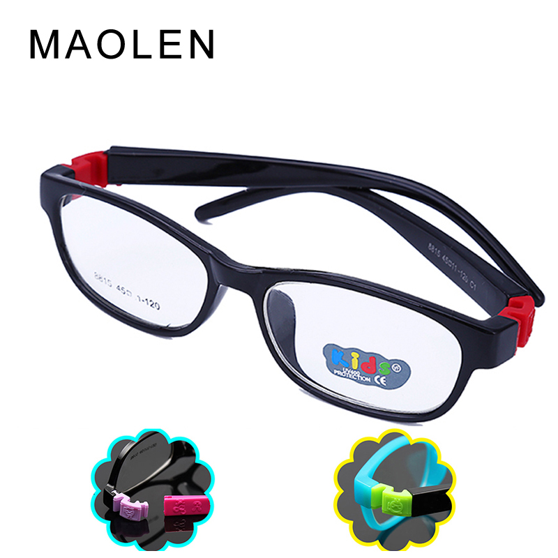 MAOLEN 2017 Bendable Round Light Child Glasses frame kids frames Eyewear Flexible TR 90 Rubber optical Lens No Screw safe Gafas