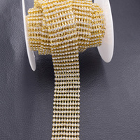 5yards SS12 10 Rows Clear Rhinestone Cup Chain Trims Gold Plated Wedding Dress Belt Appliques Sew
