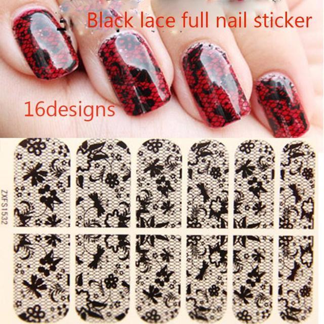 3d preto Transparente Lace Art Nail Stickers, 16 Desgins, 10 folhas/lote Sexy Flor Prego Quebra Polonês decalques, frete grátis