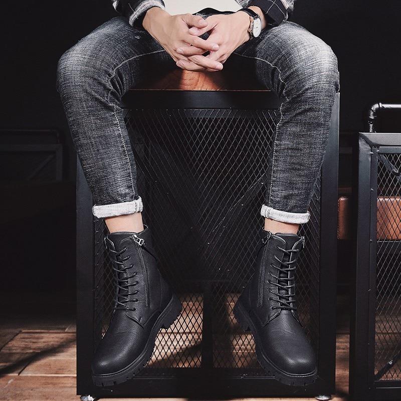 Martin bottes haute aide chaussures bottes en plein air Sport loisirs temps chaussures en cuir hommes confortable respirant haute qualité chaussures de sécurité - 6