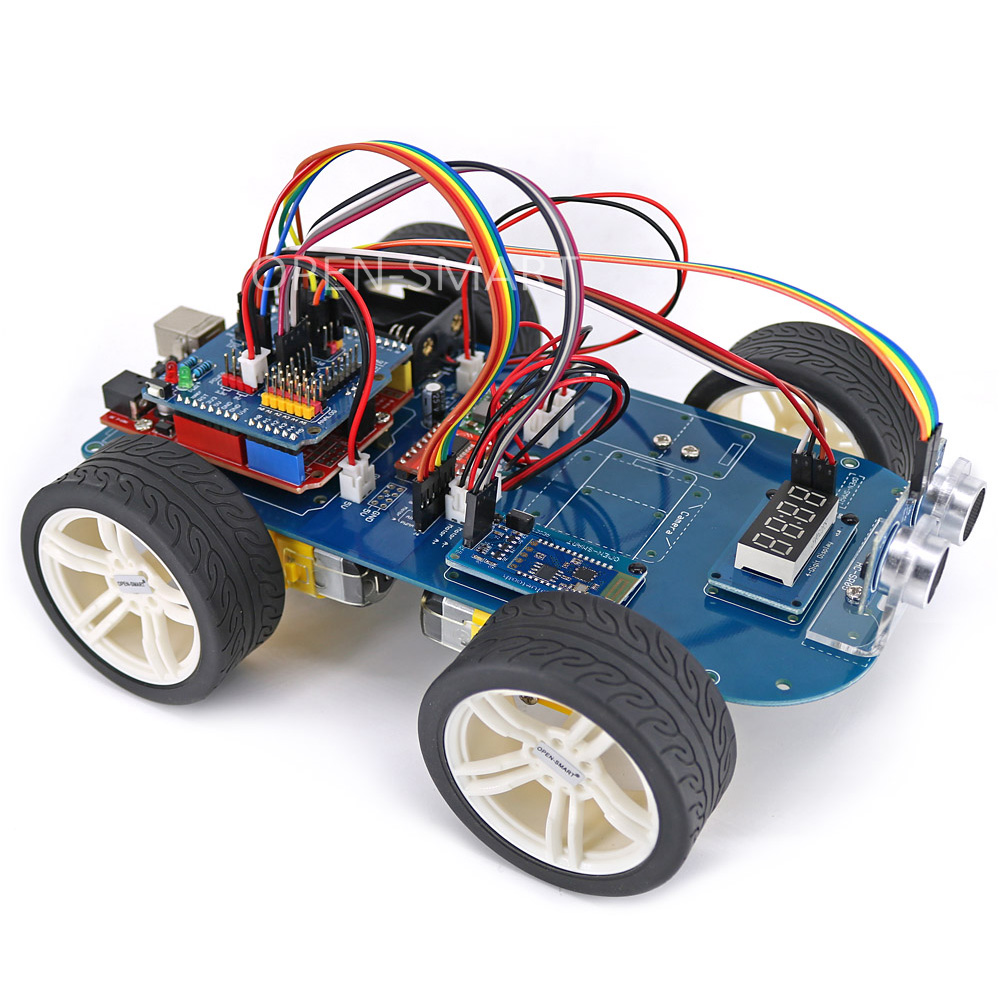 OPEN-SMART 4WD Serial Bluetooth Control Rubber Wheel Gear Motor Smart Car Kit With Tutorial For Arduino UNO R3 Nano Mega2560