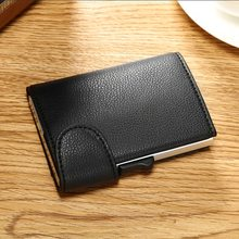 BISI GORO 2019 Genuine Leather Credit Card Holder Male Automatic Aluminum Alloy Hasp Business Wallet  Blocking Purse