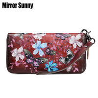 Retro Head Cowhide Leather Women Wallet Flower Butterfly Print Female Long Zipper Purse Multifunction Ladies Leather Mobile Bag