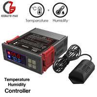 110V 220V 12V LED Digital Temperature Humidity Controller Indoor Brewing Incubator Thermostat Humidistat Therometer Hygrometer