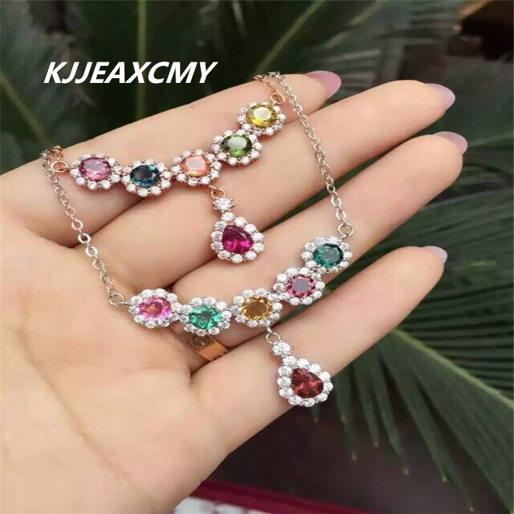 KJJEAXCMY boutique jewelry Natural crystal tourmaline necklace, pendant, inlaid jewelry, S925 silver, sterling silver, femaleKJJEAXCMY boutique jewelry Natural crystal tourmaline necklace, pendant, inlaid jewelry, S925 silver, sterling silver, female