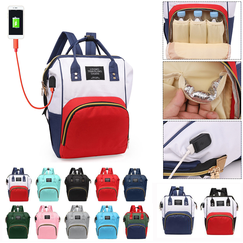 Fashion USB Charging Mummy Diaper Bags Large Capacity Waterproof Travel Maternity Backpack Baby Nappy Nursing Bag Baby Organizer