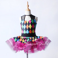 Mesh Colorful Ballet Tutu Dress Children Adult Performance Costume Support Dance C336