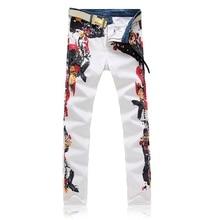 2016 Новый Стиль Моды для Мужчин Джинсы Белые Цветы 3D Печать дизайн Узкие Джинсы Прямые Slim Fit Брюки Ночной Клуб Длинные брюки