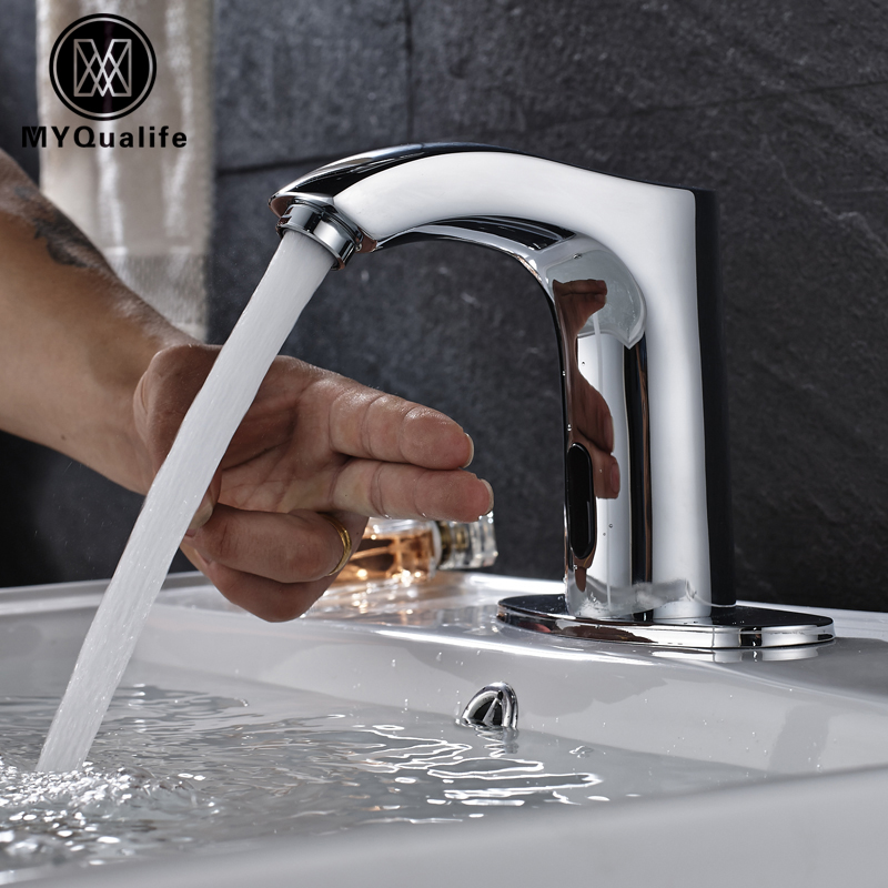 Cold Water Bathroom Tap Automatic Touch Free Sensor Chrome Polish Faucets Deck Mounted new deck mounted cold automatic sensor hands faucet chromed free bathroom sink tap cold only sensor faucet chrome for bathroom