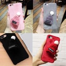ФОТО Handmade  Knitting Wool Hats Girls Mobile phone Cases 3D Plastic Back Covers Protective Shell Funda  iPhone 6/ 6s