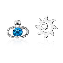2018 new fashion sapphire earrings 100% natural dark blue stud earring for woman 925 solid sterling silver jewelry gift for girl Fashion Simple 925 Sterling Silver Blue Planet Sun Stud Earrings For Girls Women Asymmetry Gift Earring Korea Jewelry