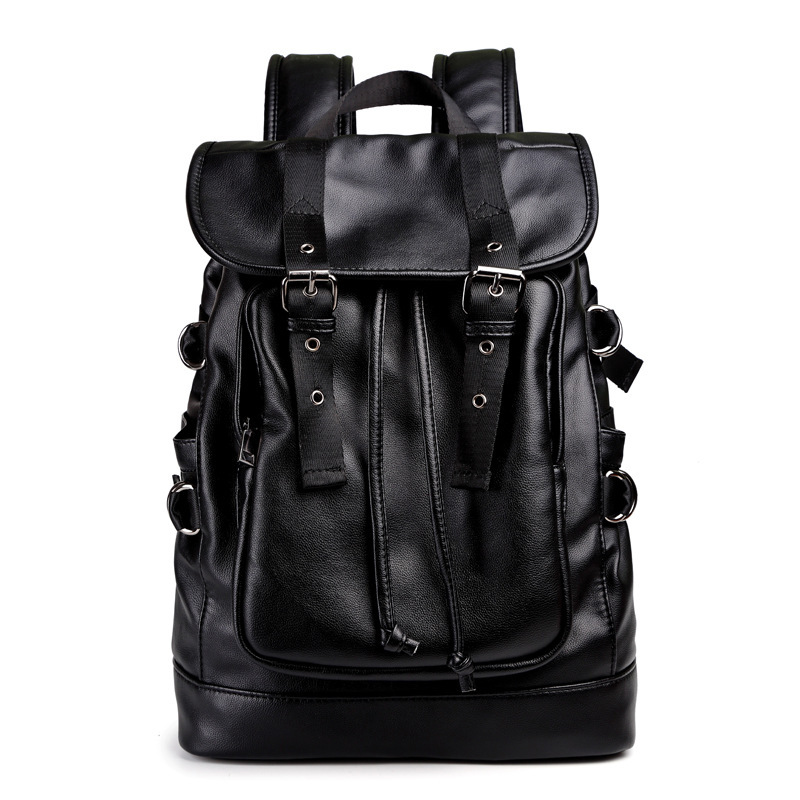 Black Pu Leather Men Backpack Casual School Bag for Teenager