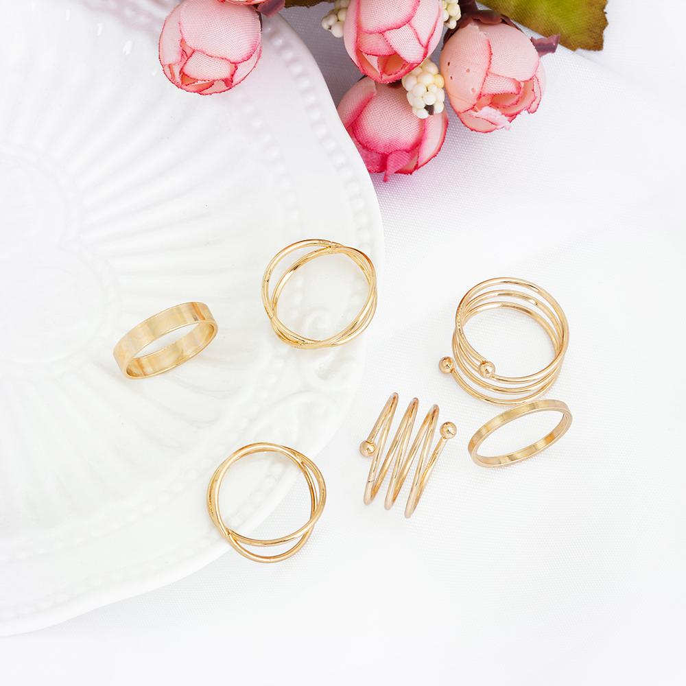 HTB1UPCFRpXXXXaNaFXXq6xXFXXXW Posh 6-Pieces Cuff Finger Ring Gift Set For Women - 2 Colors