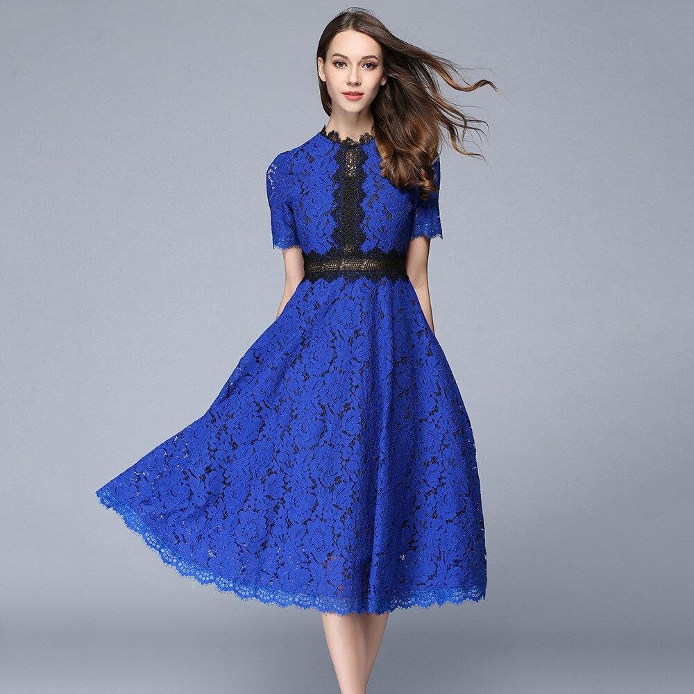 7f394523a7 De 2018 Tunique Midi Femme Élégant Femmes Haute Robes khaki Soirée D'été  Mode Dentelle Robe Sexy Blue Évider Qualité 7tgww6qY