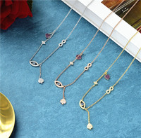 New fashion designer 925 sterling silver evil eyes necklace,gold color small pink heart lucky 8 pendant choker monaco jewelry