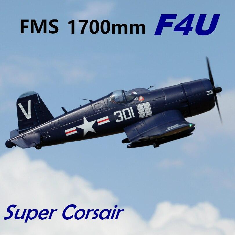 """FMS 1700 مللي متر 1.7 M (66.9 """") f4U قرصان 6 S 6CH مع اللوحات تتراجع PNP RC طائرة كبيرة Warbird ثابتة الجناح نموذج طائرة الطائرات افيون-في طائرات تعمل بالتحكم عن بعد من الألعاب والهوايات على  مجموعة 1"""