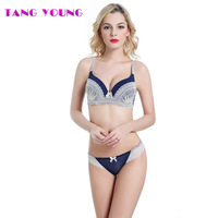 TANG YOUNG Sexy Women Deep V Bra Set Lace Underwear Female Underwire Bras Push Up Bra