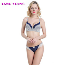 TANG YOUNG Sexy Women Deep V Bra Set Underwear Female Lace Underwire Bras Push Up Bra Brief Set Lingerie Female Young Designs