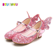 Girls high heel children shoes fashion kids sequin princess butterfly party wedding girls dance shoe gold pink blue silver
