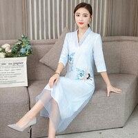 Summer vietnam ao dai Chinese traditional dress qipao long Embroidered elegant gown chinoiserie modern cheongsam