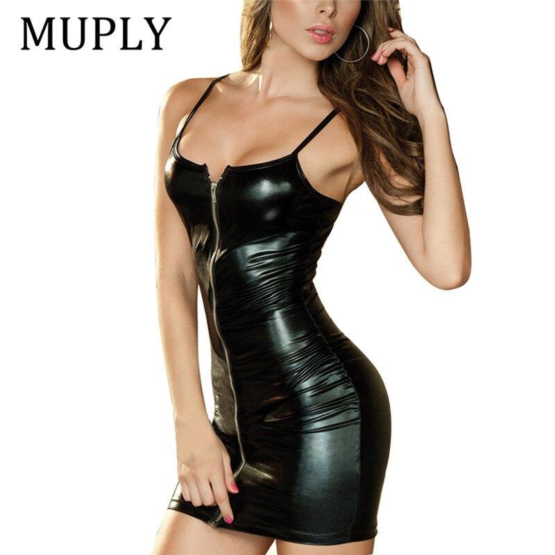 2018 mujeres atractivas PU vestido de cuero Bodycon Midi vestido de oficina negro Sexy Club lápiz Vestidos de fiesta Vestidos tirantes Club vestido