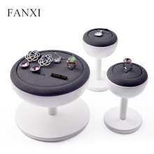 FANXI New White Wooden Jewelry Display Stand with Grey Microfiber Ring Earring Necklace Bangle Holder Table Set