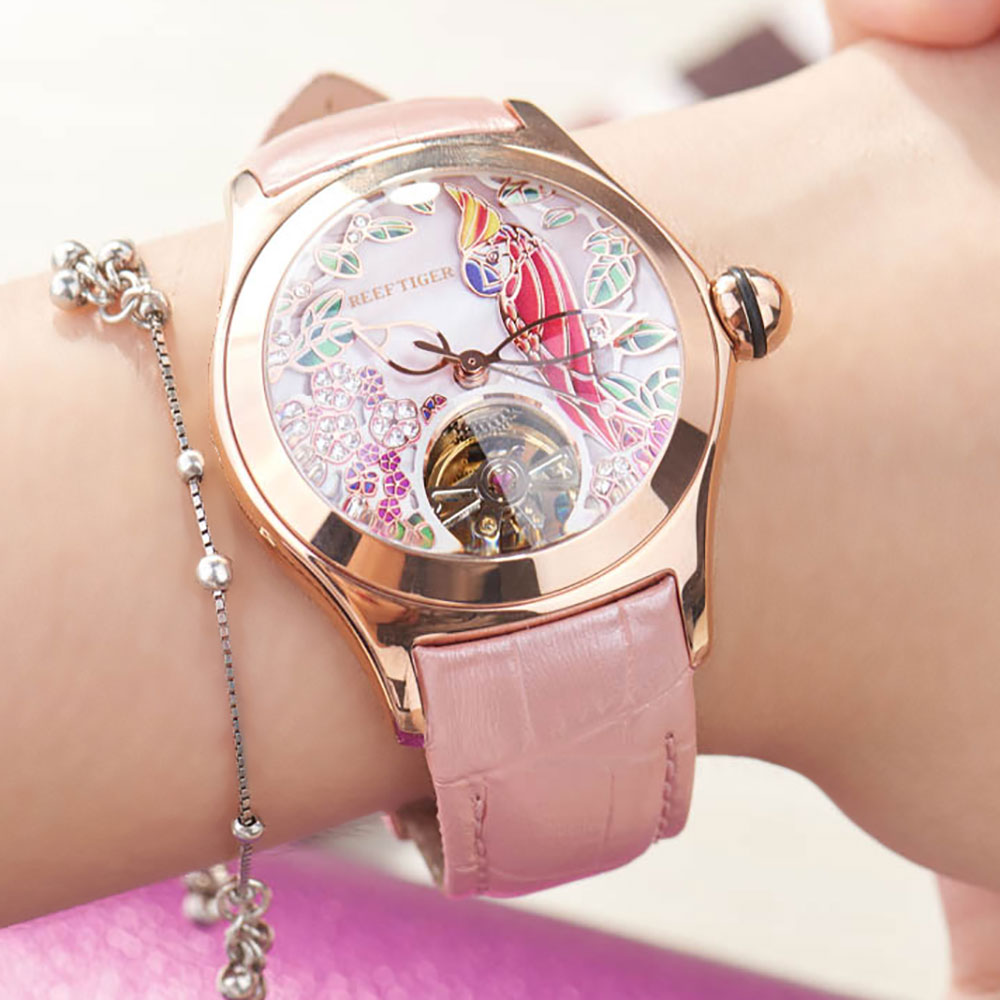 Reef Tiger Top Brand Luxury Women Watches Pink Dial Leather Strap Mechanical Watch Rose Gold Fashion Watch reloj mujer RGA7105Womens Watches   -