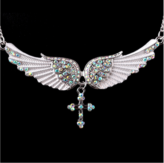 Angel Wing Cross Necklace Women Jewelry Gifts Crystal Adjustable Antique Silver Women Necklace dropshipping Sweater Chain