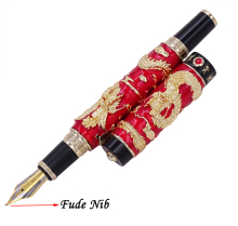 Jinhao Red Cloisonne Double Dragon Calligraphy Fountain Pen Fude Bent Nib Advanced Craft Writing Gift for Business Office