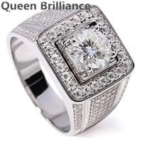 Luksusowe 1 Carat F Kolor Okrągły cut Lab Grown Moissanite Diament Obrączka Z Akcentami Egagement 14 K 585 Białe Złoto Dla Mężczyzn
