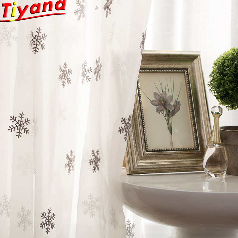 Luxury White Window Curtain Fabrics Sheer Snowflake Embroidery Tulle For Living Room Curtains For Bedroom X-WP157-40