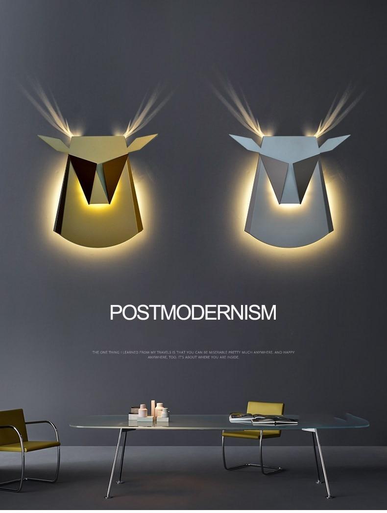 Nordic creative wall lamp living room restaurant aisle cafe iron personality bedroom bedside Ngau Tau wall light