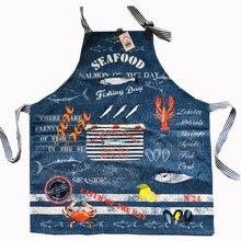 J S 77×70 cm baumwolle küchenschürze Frau denim-stoff Hummer Fisch Krabben Floral Kochen Divertido Tablier Küche Pinafore Salon