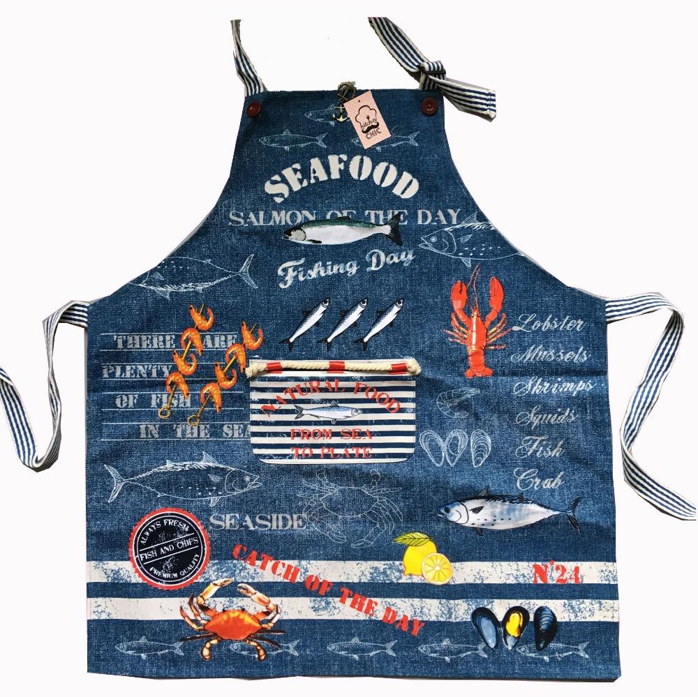 Blue apron nz - J S 77x70cm Cotton Kitchen Apron Woman Denim Fabric Lobster Fish Crab Floral Cooking Divertido Tablier Cuisine