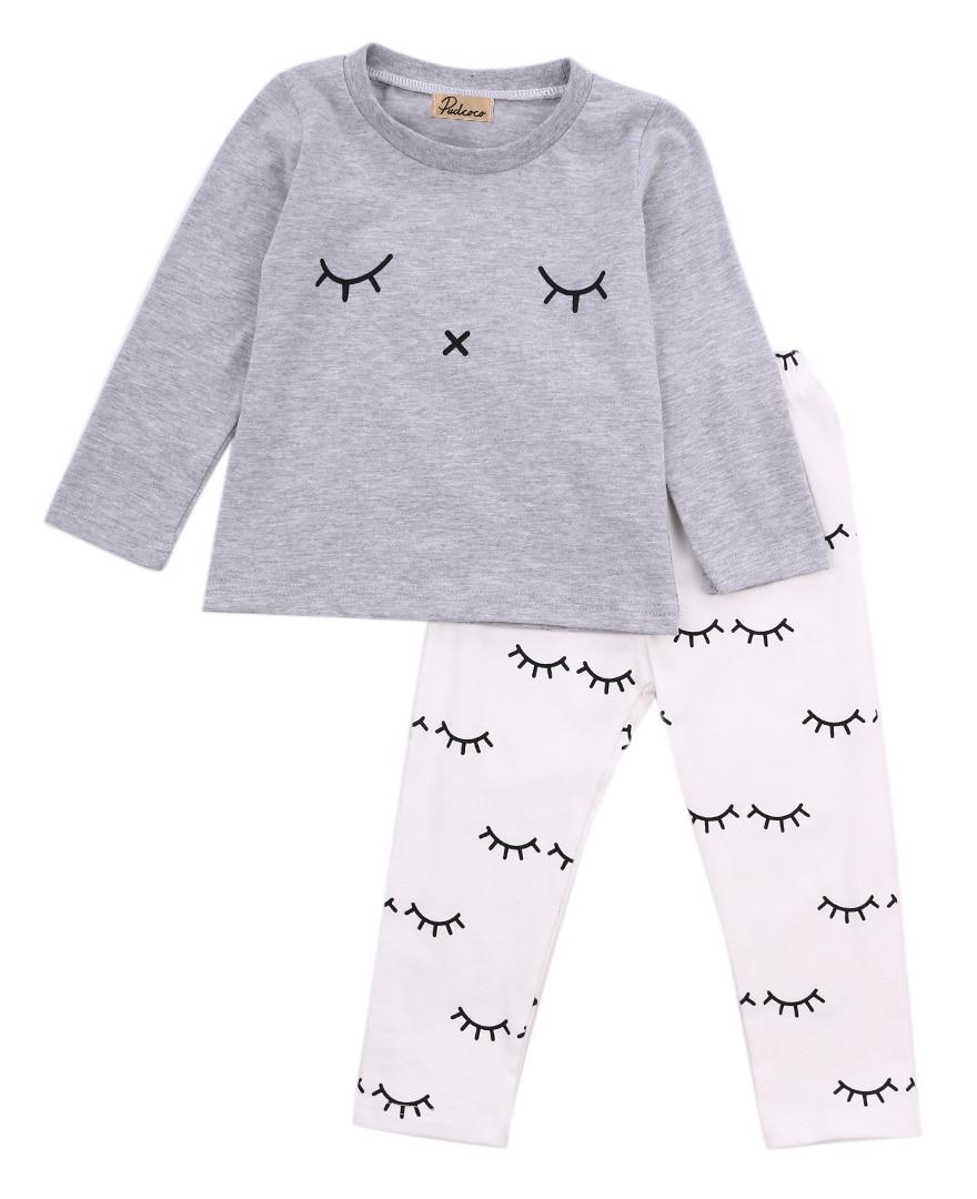 2 piezas sonrisa recién nacido bebé niños niñas ropa mono tops camiseta + pantalones largos trajes