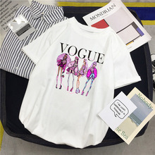 цены на ZOGANKI Fashion Short Sleeve T Shirt Cartoon Printed Top Tees Casual O Neck T-Shirt Women Summer T-shirts Female White Tees Shir  в интернет-магазинах