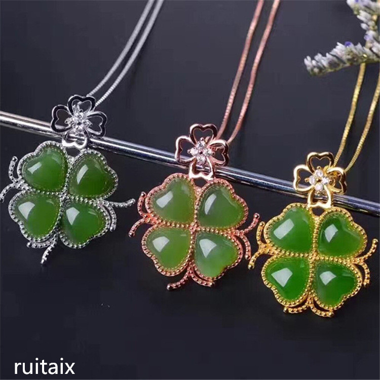 KJJEAXCMY boutique jewels S925 Pure silver inlay natural jade female style pendant + necklace four-leaf grass jewelry micro-inl недорого