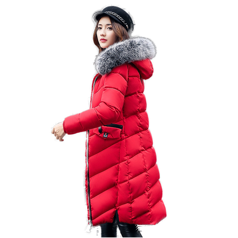 Snow Wear New women 2017 thick winter long coat womens long down jackets outwear casual Large Fur Hooded Warm Parkas Coats 1844 korean winter jacket women large size long coat female snow wear cotton parkas hooded thick warm coats and jackets 7 colors