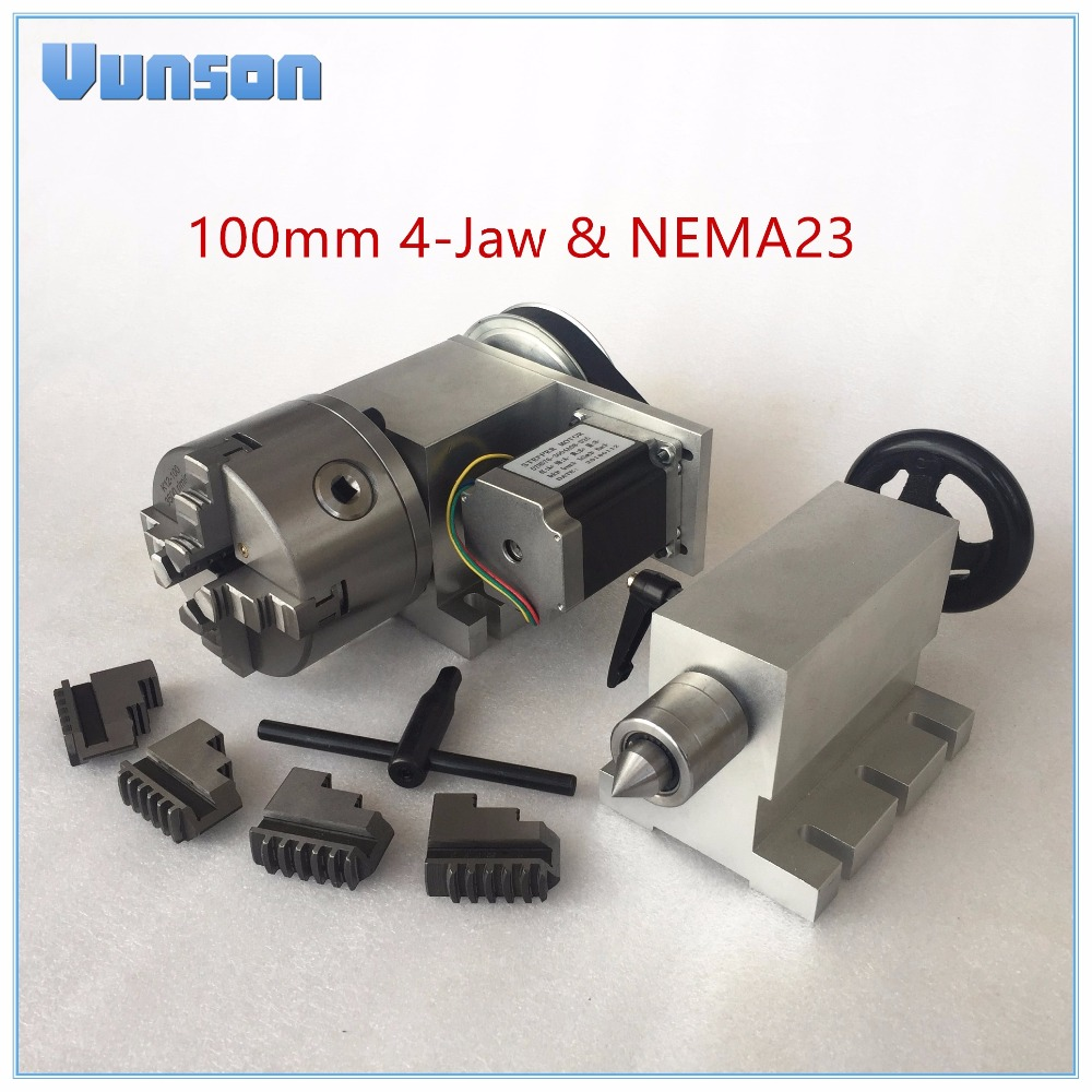 CNC 4th Axis 100mm 4 Jaw Chuck NEMA23 Motor Rotary Axis Dividing Head Live Center Tailstock