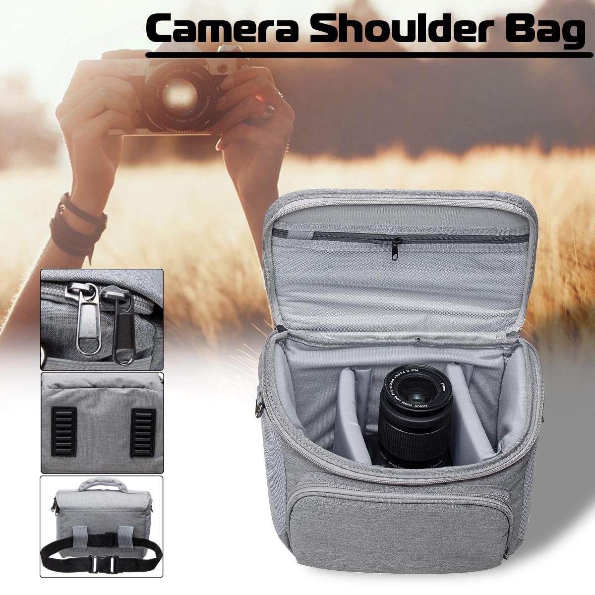 Waterproof Camera Carry Handbag Shoulder Bag+Rain Cover for Canon-Nikon DSLR Adjustable Waistband Shoulder Strap Gray Nylon