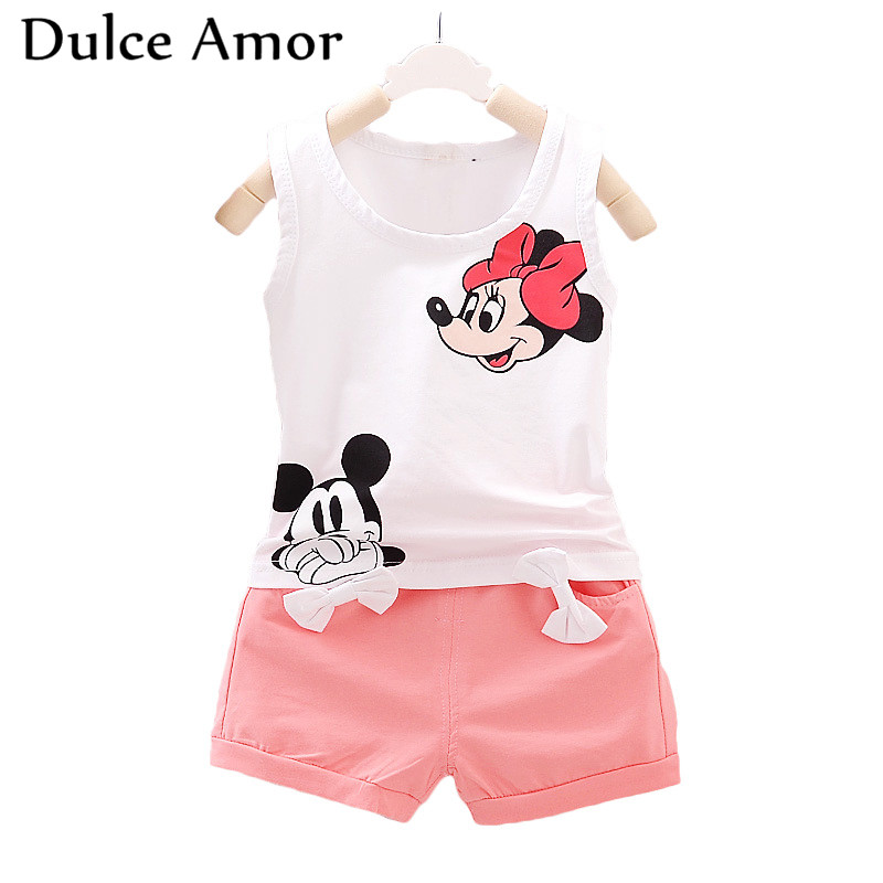 Dulce Amor Summer Baby Girl Clothes Set Kids Clothing Girls Sports Suits 2PCS/set Cotton Sleeveless Vest + With Bow Shorts