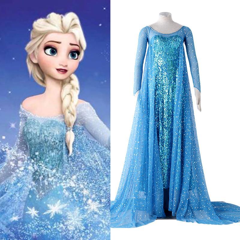 Cosplay Elsa dlouhé šaty, modré šaty pro královnu Elsu US catoon Čína OEM dodavatel vysoce kvalitní cosplay oblečení - Doprava zdarma