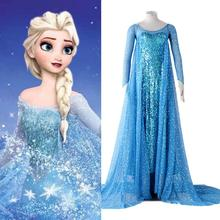 Cosplay Elsa long dress ,blue dress for Queen Elsa US catoon China OEM supplier high quality cosplay clothing -- Free shipping